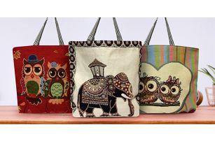 Prostorné látkové tašky se sovičkami či slonem