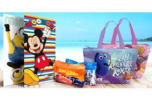 Toaletní taštičky, plážové tašky i osušky