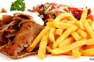 Kebab či falafel v tortille, chlebu i s hranolky