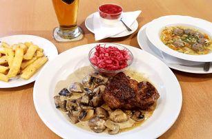 3chodové menu s obřím steakem pro 1 i 2 osoby
