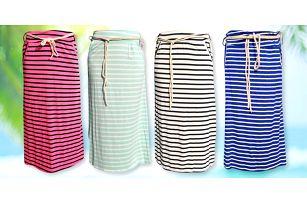 Dámské pruhované sukně: dlouhé nebo ke kolenům