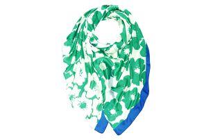 Dámský hedvábný zelený šátek Carnation
