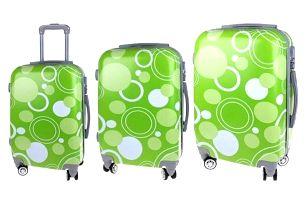 Sada 3 skořepinových kufrů (Zelené kroužky)