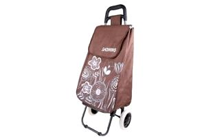 Nákupní taška na kolečkách s kytičkami - Hnědá