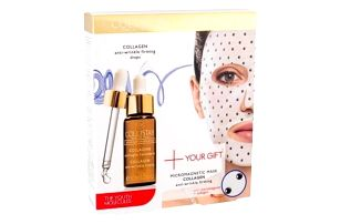 Collistar Pure Actives Collagen Serum + Collagen Mask dárková kazeta proti vráskám pro ženy pleťové sérum 30 ml + pleťová maska Micromagnetic Mask Collagen 1 ks
