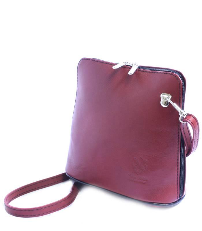 Červená dámská kožená kabelka crossbody s černým zipem  a4b6a386ddf