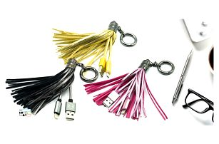 Střapec na kabelku s Ligtning i microUSB kabelem