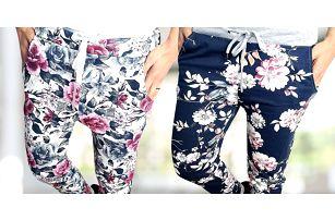 Dámské vzorované baggy kalhoty s květinami
