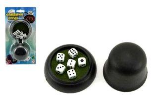 Hrací kostky 6ks s kelímkem společenská hra na kartě 11x21x5cm