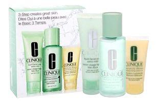 Clinique 3-Step Skin Care 1 dárková kazeta pro ženy čisticí voda Clarifying Lotion 1 100 ml + čisticí mýdlo Liquid Facial Soap Extra Mild 50 ml + hydratační přípravek DDML 30 ml