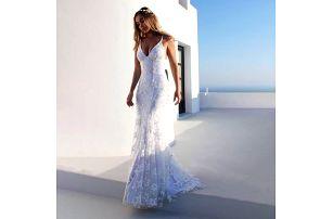 Bílé krajkové šaty s odkrytými zády - velikost č. 5 - dodání do 2 dnů