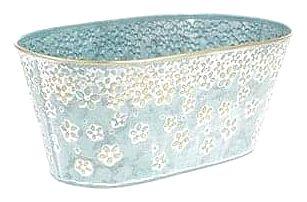 Kovový obal, truhlík na květiny Daisy 32 x 16 cm, modrá
