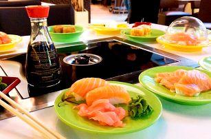 2 hod. hodování running sushi s grilem na stole