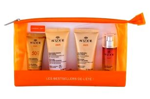 NUXE Sun Melting Cream SPF50 Travel Set dárková kazeta voděodolná pro ženy krém na opalování 30 ml + šampon After-Sun 50 ml + mléko po opalování After-Sun 50 ml + tělový sprej Sun 30 ml + kosmetická taška