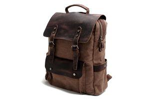 Městský vintage plátěný batoh s koženými detaily