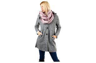 Šedý dámský kabát s kapucí ve vlněném vzhledu