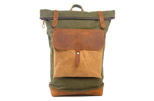 Vintage velký plátěný batoh s kůží