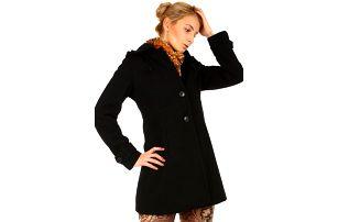 Dámský vlněný kabát s kapucí- i pro plnoštíhlé