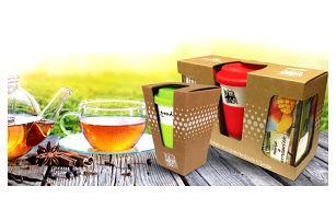 Dárkové balíčky keramických termohrnků s čajem