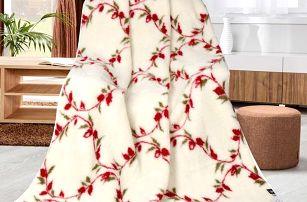 Bellatex Vlněná deka Kvítky popínavé, 155 x 200 cm