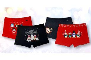 Pánské a dětské vánoční boxerky se Santou i jeleny