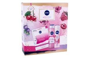 Nivea #Berryshake dárková kazeta pro ženy sprchový gel Fresh Blends Raspberry 300 ml + antiperspirant Fresh Cherry 150 ml + textilní pleťová maska Urban Skin Natural Radiance 1 ks