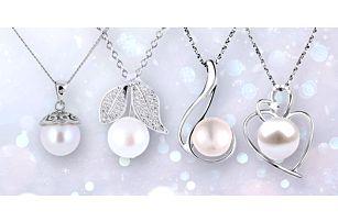 Přívěsky se zirkony a pravou říční perlou