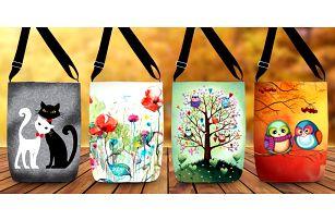 Kabelky přes rameno s veselými vzory: kočky, květiny aj.