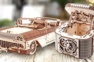Dřevěné 3D puzzle: loď, auto i šperkovnice
