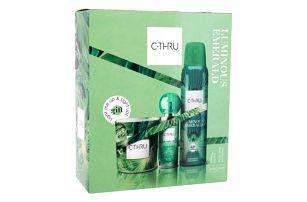 C-THRU Luminous Emerald dárková kazeta pro ženy toaletní voda 30 ml + deodorant 150 ml + svíčka