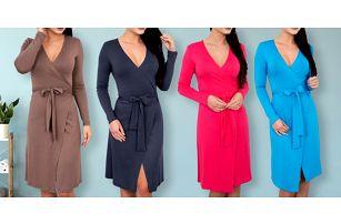 Pružné elegantní šaty s vázáním v pase v 6 barvách
