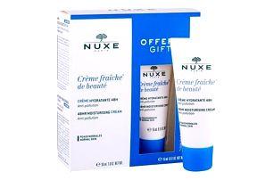 NUXE Creme Fraiche de Beauté 48HR Moisturising Cream dárková kazeta pro ženy denní pleťová péče 30 ml + denní pleťová péče 15 ml