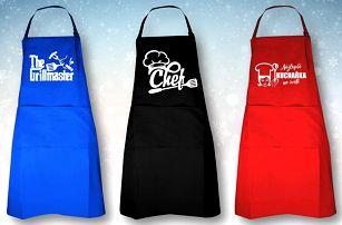 Kuchařské a grilovací zástěry: 5 motivů a barev